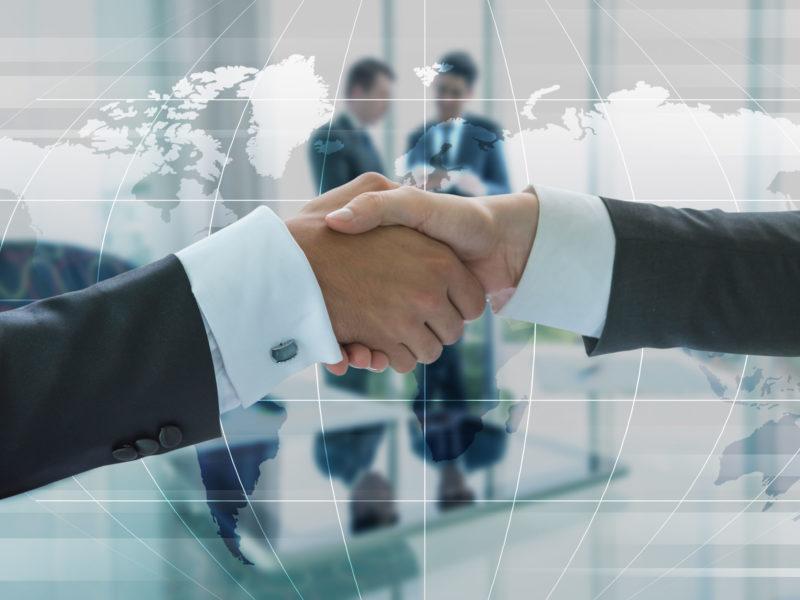 Business handshake, business globalization concept