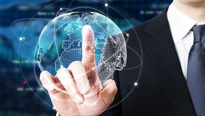 Businessman pointing at digital globe on forex background. Fund management concept. 3D Rendering